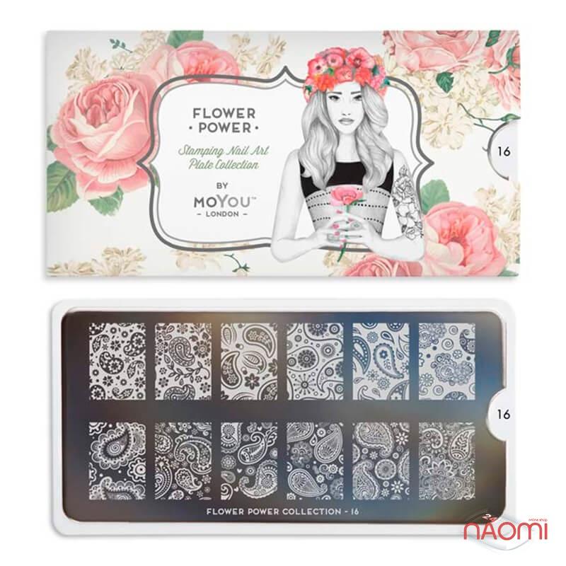 Пластина для стемпінга MoYou London серії Flower Power Collection 16 Мереживо, квіти, фото 2, 225.00 грн.