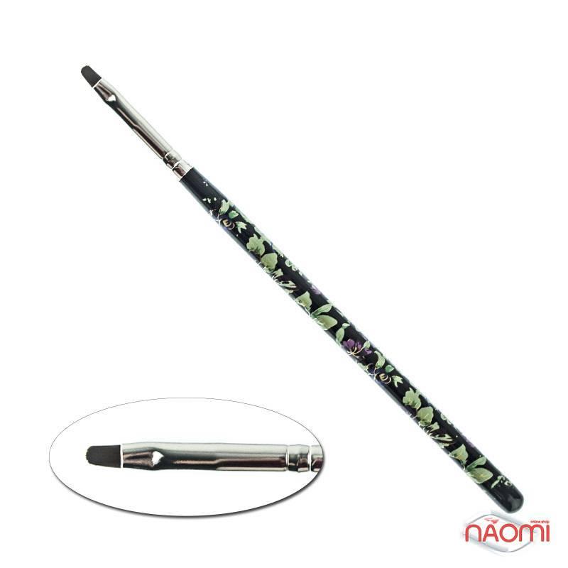 Кисть для геля № 4, овальная, черная с цветочным принтом, искусственный ворс, фото 1, 49.00 грн.