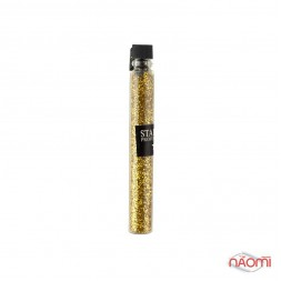 Блестки Starlet Professional для украшения ногтей, цвет золото в пробирке