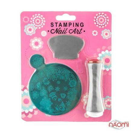 Набор для стемпинга Stamping Nail Art SG 09, штамп, скрапер и пластина, фото 1, 80.00 грн.
