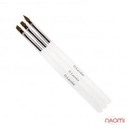 Набор кистей G. Lacolor для наращивания гелем с прозрачной ручкой (в наборе 3 шт.)