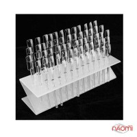 Типсы для образцов прямоугольные прозрачные 10 см, с подставкой, 64 шт.