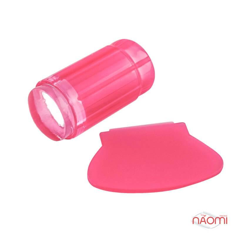 Односторонний силиконовый штамп и скрапер для стемпинга, цвет розовый, фото 2, 49.00 грн.