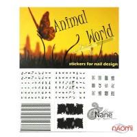 Трафареты-наклейки для nail-art Животные, в наборе 5 листов