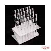 Типсы для образцов прямоугольные прозрачные 10 см, с подставкой, 32 шт.