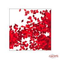 Декор для ногтей ромбики RB 04, цвет красный с голограммой
