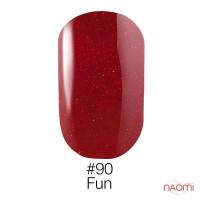 Гель-лак Naomi 090  Fun малиново - красный с блеском, 6 мл