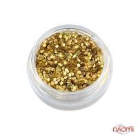 Декор для нігтів конфетті (каміфубукі) 1 мм, колір золото з перламутром, в баночці