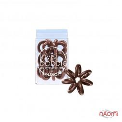 Резинка-браслет для волос Invisibobble NANO Pretzel Brown, цвет коричневый, 20х3 мм, 3 шт.