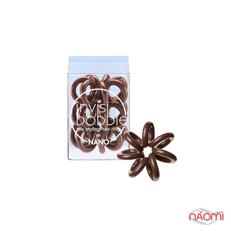 Резинка-браслет для волос Invisibobble NANO Pretzel Brown, цвет коричневый, 20х3 мм, 3 шт., фото 1, 149.00 грн.