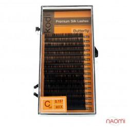 Ресницы Kodi professional Butterfly C 0.15  (16 рядов: 8,9,10,12,13,14 мм), черные