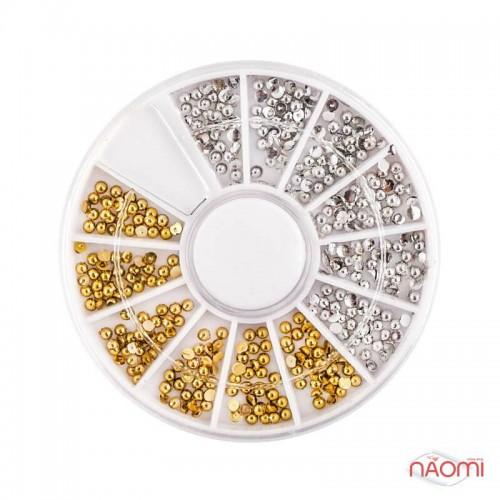 Декор для ногтей в контейнере Карусель заклёпки маленькие цвет золото, серебро , фото 1, 45.00 грн.
