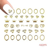 Наклейки для ногтей DTL 48 Золотые короны, бриллианты, рамочки