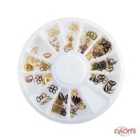 Декор для ногтей в контейнере Карусель сердечки, якорь, стрекоза, губки, бабочки, цвет золото