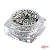 Декор для ногтей Salon Professional Чешуя, цвет серебро с голограммой, средняя 040 Silver Alpha