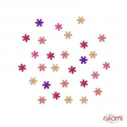 Декор для ногтей снежинки, цвет розовый с голограммой