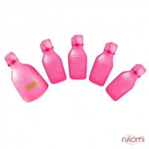 Набір кліпсів (прищіпок) для зняття гель-лаку, для педикюру, багаторазові 5 шт./уп., колір рожевий