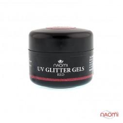 Гель Naomi камуфляжный UV Glitter Gel Red красный с блестками, 14 г