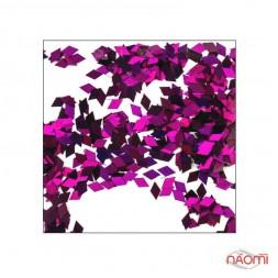 Декор для ногтей ромбики RB 07, цвет темно-розовый с голограммой