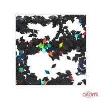 Декор для ногтей ромбики RB 12, цвет черный с голограммой