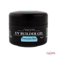 Гель Naomi строительный UV Builder Gel Premium Blue прозрачный голубой, 14 г