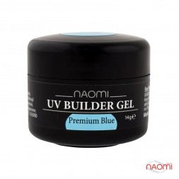 Гель Naomi будівельний UV Builder Gel Premium Blue прозорий блакитний, 14 г