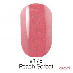 Гель-лак Naomi 178  Peach Sorbet персиковый с шиммерами, 6 мл