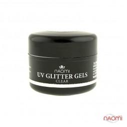 Гель Naomi камуфляжний UV Glitter Gel Clear прозорий з блискітками, 14 г