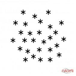 Декор для ногтей снежинки, цвет черный