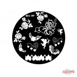Диск для стемпинга El Corazon EC-s 547 Цветы, сердца