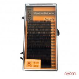 Ресницы Kodi professional Butterfly B 0.15 (16 рядов: 8,9,10,12,13,14 мм), черные