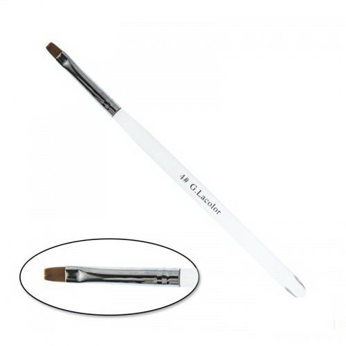 Кисть для наращивания G. Lacolor 4, прямая, с прозрачной ручкой, искусственный ворс, фото 1, 50.00 грн.