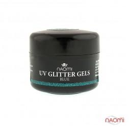 Гель Naomi камуфляжный UV Glitter Gel Blue голубой с блестками, 14 г
