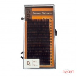 Ресницы Kodi professional Butterfly B 0.10 (16 рядов: 12 мм), черные