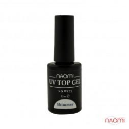 Топ для гель-лака без липкого слоя Naomi Rubber UV Top Gel No Wipe Shimmer 12 мл