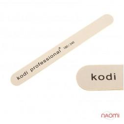 Пилка для ногтей Kodi Professional 180/240 White/Brown, прямая узкая