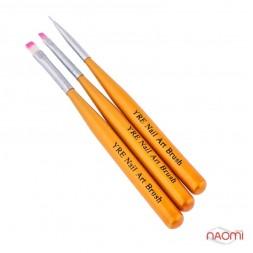 Набір пензлів для малювання Yre Nail Art Brush, жовті, 3 шт.