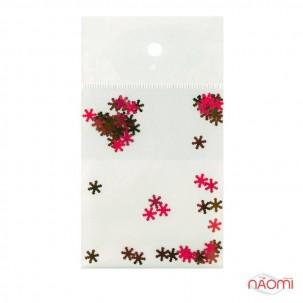 Декор для ногтей снежинки, цвет красный