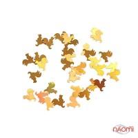 Металеві фігурки для нігтів, Новий рік, півні, колір золото