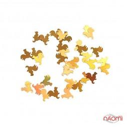 Металлические фигурки для ногтей, Новый год, петухи, цвет золото