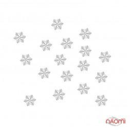 Металеві логотипи - Сніжинка маленька, 6 мм - L35 срібло, 25 шт