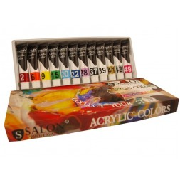 Набор акриловых красок Salon Professional Fine Artist Materials, в наборе 12 цветов 15 мл