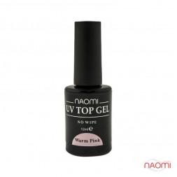 Топ для гель-лака без липкого слоя Naomi Rubber UV Top Gel No Wipe Warm Pink 12 мл