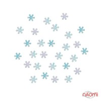 Декор для ногтей снежинки, цвет голубой