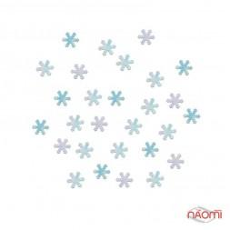 Декор для нігтів сніжинки, колір блакитний