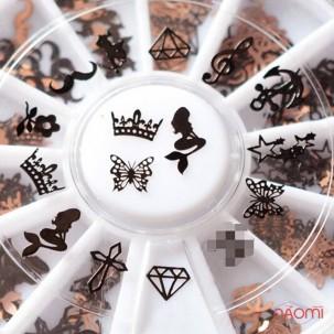 Декор для нігтів металеві фігурки, асорті