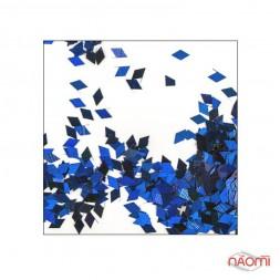 Декор для ногтей ромбики RB 10, цвет синий с голограммой