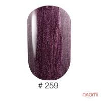 Гель-лак Naomi 259 Brave Pulse лиловая марсала с цветными шиммерами и блестками, 6 мл