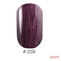Гель-лак Naomi 259 Brave Pulse лиловая марсала з кольоровими шимерами і блискітками, 6 мл