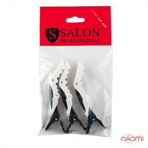 Затискач для волосся Salon Professional 0013, професійний кольоровий чорний з білим, в наборі 3 шт.